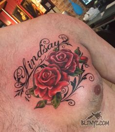 Red Roses Dedication Chest Tattoo by Nicole at Body Language Tattoo Shop NYC