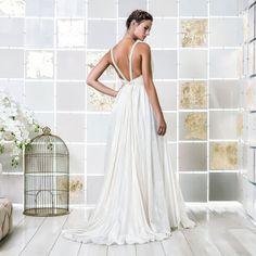 Gio Rodrigues Tara Wedding Dress sensual flowing wedding dress drawn silk organza aplication beads pleats engaged inspiration unique gorgeous elegant bride