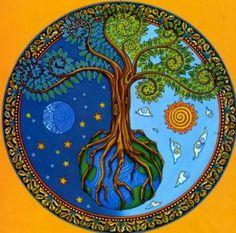 tree of life mandala Tree Of Life Art, Tree Art, Wiccan, Pagan, Mandala Art, Stars And Moon, Sun Moon, Sacred Geometry, Mother Earth