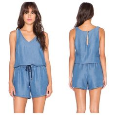 Splendid V-Neck Chambray jumper Give off casual and cool vibes in this chambray romper. Perfect for laid-back weekend activities. V-neckline. Sleeveless. Cinched waistband with drawstring. Side slash pockets. Button and loop closure at back neckline. 100% lyocell. Rich and luxurious feel. Drapes easily. Slight sheen. Made in the USA Splendid Pants Jumpsuits & Rompers