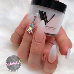 Elegant French Fade Nail Art With Accent Finger ❤️ ❤️ Many women choose almond nails as this shape is pretty and goes well with a huge number of nail designs. You can find some cute nail art here. https://naildesignsjournal.com/almond-nails-designs/ #naildesignsjournal #nails #nailart #naildesigns