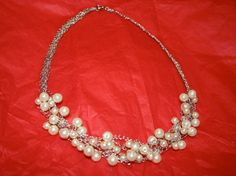 Crochet pearl necklace by cabcrochet on Etsy, $24.00