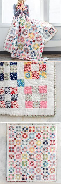 Hopscotch revival quilt by Craftsy. Easy 9 patch blocks make up this modern vintage vibe quilt. Jelly roll quilt for easy piecing. Scrappy nine patch quilt pattern. Try with charm squares cut into four? Jellyroll Quilts, Scrappy Quilts, Easy Quilts, Mini Quilts, 9 Patch Quilt, Quilt Blocks, Quilting Tutorials, Quilting Projects, Quilting Designs