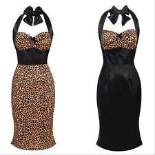 New 50s Leopard Print Pencil Wiggle Retro Vintage Style Rockabilly Pinup Dress