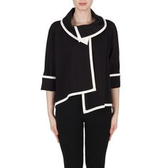 In true to form Ribkoff style the jacket in black / vanilla style number 173305 is also a headliner for us featuring a unique oversized collar for a fantastic fashionable look. The jacket is fastened under the collar by a single button and its thick scuba fabric creates a fabulous versatile wear. With stylish vanilla trim and asymmetrical hem this style of jacket is easily recognised for Ribkoff and works well for all body shapes.  These styles and much more are endorsed by Ribkoff…