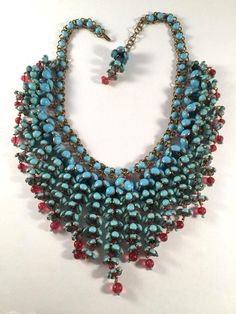 Coco Chanel Gripoix Poured Glass Flower Faux Turquoise and Ruby Necklace For Sale at 1stdibs