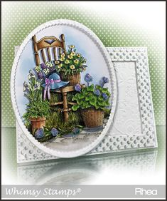 """""""Garden Chair"""" designed by DoveArt Studios © DoveArt for Whimsy StampsDeeply etched rubber mounted on cling cushion foam, untrimmed. Organic Gardening Catalogue, Buy Seeds, Whimsy Stamps, Water Features In The Garden, Gardening Supplies, Gardening Tips, Gardening Gloves, Garden Chairs"""