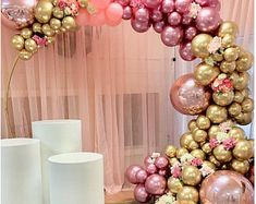 Balloon Arch Diy, Balloon Garland, Balloon Ideas, Gold Diy, Birthday Balloon Decorations, Birthday Balloons, White Balloons, Latex Balloons, Shower Party