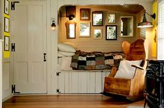 Dutch cupboard bed: really an excellent design for the small upstairs bedroom, also the hardward and paneling are great in this room. We could copy this straight into our house.
