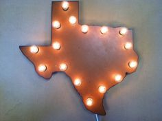 Rusted Recycled Metal Vintage Inspired Texas Lighted Marquee SHAPE STATE of TEXAS Sign on Etsy, $119.00