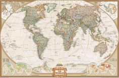 The map features a Tripel Projection, which reduces distortion of land masses as they near the poles. World Wall Map by National Geographic: Executive, Earth-toned, Antique Style. About national Geographic. World Map Mural, World Map Wallpaper, World Map Poster, Globe Wallpaper, Wallpaper Murals, Travel Wallpaper, Adhesive Wallpaper, Desktop Wallpapers, Antique World Map