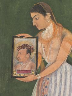 Nur Jahan, holding a portrait of Mughal Emperor Jahangir, detail of a panel. Nur Jahan was the Empress consort of the Mughal Empire from 25 May 1611 to 28 October Mughal Miniature Paintings, Mughal Paintings, Indian Paintings, Miniature Portraits, Indian Arts And Crafts, Cleveland Museum Of Art, India Art, Portrait Art, Emperor