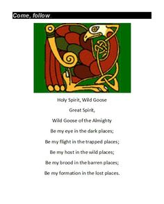 an geadh-glas - The Holy Spirit or as the Irish say the wild goose. May you always be on a wild goose chase.