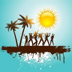 Silhouettes of people dancing on a tropical grunge background photo