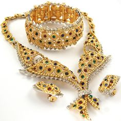 Boucher 'Bangkok' Gold Pave and Multicolour Cabochons Necklace Bracelet and Clip Earrings Set ca 1955