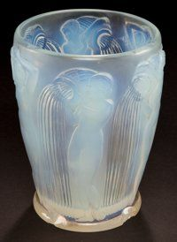 Art Glass:Lalique, R. LALIQUE OPALESCENT GLASS DANAIDES VASE . Circa 1926.Wheel carved: R. LALIQUE, FRANCE . 7-1/8 inches high (18...