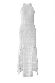 Vestido-Tricot-Fendas-Branco | Galeria Tricot - Galeria Tricot