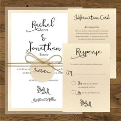 Rustic Invitations - Twig (white) - gold twine