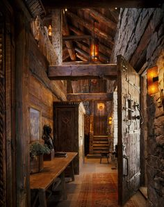 Cabin Entry: Reclaimed Beams & Large Scale Proportions emphasize Strong, Rustic Warmth [1366 × 1727] - Modern and Vintage Cabin Decorating Ideas, Small Cabin Designs, Cabins Interior and Decor Inspiration