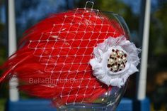 Red White Baby Girl Headband Shabby Chic Flower Headbands, Hackle Feather Pad, Newborn, Infant or Toddler, Vintage Style, Christmas New Year by BellaBumbleBee, $10.95