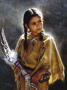 ✿ Tittle: Little Blossom ~ Artist Alfredo Rodriguez ✿ - xx Native Child, Native American Children, Native American Beauty, American Indian Art, Native American History, Native American Indians, Native Americans, American Girl, Native American Paintings