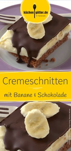 Banana cream cakes- Bananencremeschnitten Creamy banana filling nestled between loose cake and crunchy chocolate crust: We& tell you a simple recipe for homemade banana cream slices. Banana Dessert Recipes, Pudding Desserts, Easy Desserts, Smoothie Recipes, Cake Recipes, Dessert Simple, Banana Cream Cakes, Banana Oat Muffins, Food Cakes