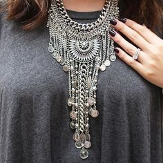 Boho Bohemian Statement Necklace #silvernecklace #glam #fashion #style…