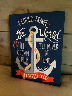 Hand painted acrylic anchor and nautical saying Nautical Quotes, Nautical Theme, Anchor Quotes, Diy Canvas Art, Canvas Ideas, Beach Themes, Painting Inspiration, Diy Art, Boot Camp