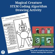 Magical Creatures STEM Coding Algorithm Drawing Activity - This activity was created to go along with the book Miss Turie's Magic Creatures. It is a fun way to work on coding and exploring algorithms. Drawing Activities, Craft Activities For Kids, Kindergarten Activities, Book Activities, Halloween Theme Preschool, Halloween Science, Cool Experiments, Thanksgiving Coloring Pages, Dinosaur Coloring Pages
