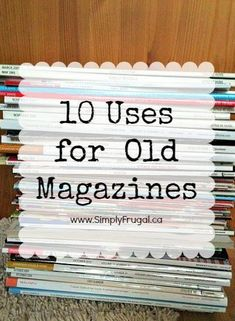 Have you got a pile of magazines laying around that you know you should recycle or donate? Check out this list of 10 uses for old magazines! upcycling crafts recycle crafts remake crafts repurpose crafts reuse old magazines craft ideas diy ideas Old Book Crafts, Newspaper Crafts, Book Page Crafts, Recycled Magazines, Old Magazines, Recycled Books, Upcycled Crafts, Recycled Art, Repurposed