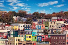 John's core cityscape in the fall. St John's, Newfoundland, Canvas Frame, Wrapped Canvas, Core, Art Prints, Mansions, House Styles, Pictures