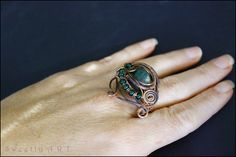 Copper wire ring green jade ring copper ring gothic by SweetlyART