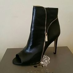 Vince Camuto  Black Leather Peep Toe Boots BRAND NEW NEVER WORN! Stylish and classy, good to go with dresses, skirts, skinny jeans and/or leggings!  Real soft leather with gold zipper detail (as shown pic).  Side zip.  Get for yourself or as a gift! Vince Camuto Shoes