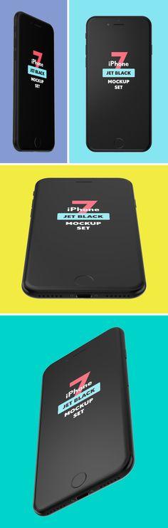 iPhone 7 Jet Black Mockup Set