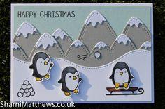 Christmas Card - Lawn Fawn - Toboggan Together