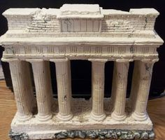 """$35 = Used Roman Ruins Building Aquarium Ornament Fish Tank Decoration 10 3/4"""" wide by 9 1/2"""" high by 3 1/4"""""""