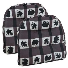 Lodge Animal Plaid Gripper Tufted Chair Cushion