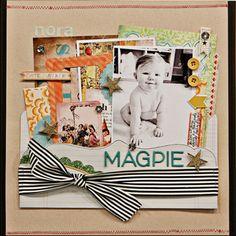Magpie by Jen_Jockisch at Studio Calico Scrapbook Sketches, Scrapbook Page Layouts, Scrapbook Pages, Scrapbooking Ideas, Baby Scrapbook, Scrapbook Paper Crafts, Paper Crafting, Heritage Scrapbooking, Studio Calico