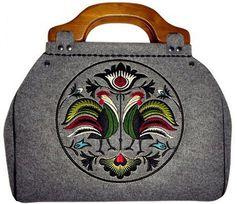 GOSHICO - torba z filcu z wzorem folk - koguty