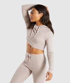 gymshark slounge cropped hoodie size: large color: taupe marl nwot- never been worn sold out online!