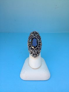 Dramatic Sterling Silver Marcasite And Onyx Cocktail Ring Boardwalk Empire Worthy by PaintItWhiteDecor