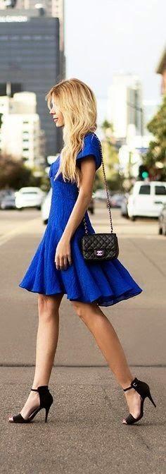 0d8bafd2a80 Lovely little blue dress! Fashion Beauty, Love Fashion, Womens Fashion,  Trendy Fashion