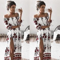 Cheap summer sundresses, Buy Quality long maxi directly from China maxi dress women Suppliers: Women Ladies Clothing Dress Chiffon Floral Long Sleeve Party Flower Casual Long Maxi Dresses Women Summer Sundress Chiffon Floral, Boho Floral Dress, Floral Sundress, Chiffon Dress, Sexy Dresses, Dress Outfits, Evening Dresses, Casual Dresses, Woman Outfits