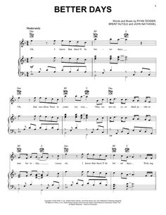 Preview OneRepublic Better Days Pop sheet music, notes and chords for Piano, Vocal & Guitar (Right-Hand Melody), SKU: 446579