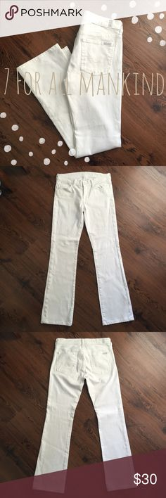 7 For All Mankind White Bootcut Jeans 7 For All Mankind White Bootcut Jeans. Size 27. Like-new condition. Measurements can be given upon request!👍🏼 Make an offer if the price doesn't seem right:) 7 For All Mankind Jeans