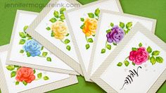 Mass Producing Cards Video by Jennifer McGuire Ink using Altenew Vintage Roses, with a listing of inks to use for the layers
