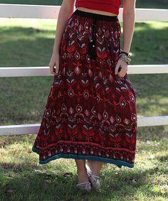 Look at this #zulilyfind! Coral Floral Drawstring Maxi Skirt #zulilyfinds