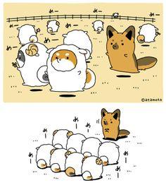 """アタモト on Twitter: """"たるしば羊と牧羊犬たるしぇぱ… """" Cute Kawaii Animals, Happy Animals, Kawaii Cute, Kawaii Drawings, Cute Drawings, Animal Drawings, Kawaii Illustration, Chubby Puppies, Cute Stories"""