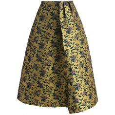 Chicwish Retro Glam Floral Jacquard Midi Skirt ($51) ❤ liked on Polyvore featuring skirts, yellow, jacquard midi skirt, brown skirt, retro skirts, floral skirt and flower print skirt