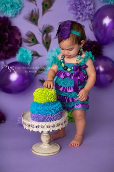 Peacock Smash Cake Session – Footsteps Photography, Child Photographer in Vacaville CA » footsteps-photography.com